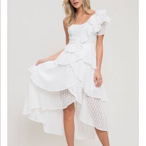 Dresses & Skirts - White Perforated One Shoulder Ruffle Dress!